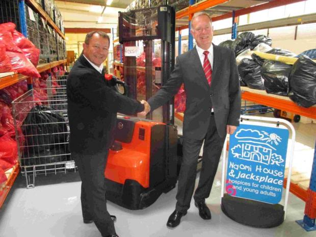 Deputy Chief Executive, Mark Smith (L) with Trevor Fryer (R), local sales representative at Toyota Material Handling UK.