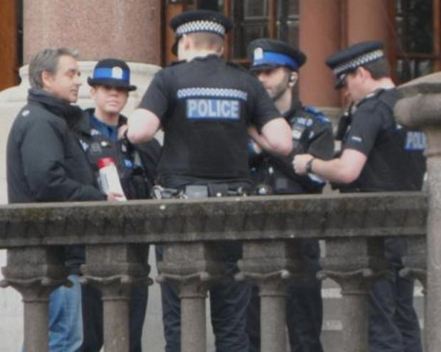 Officers arrested Paul Weston on the steps of Winchester Guildhall in April.