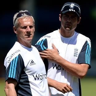 Peter Moores, left, believes the runs will soon flow for captain Alastair Cook