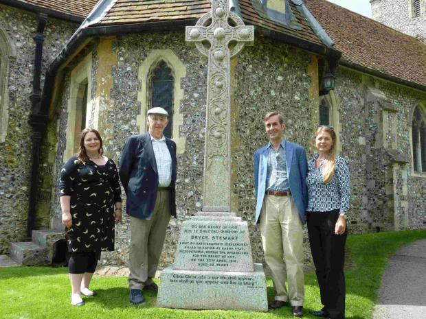 Alix Hickman, Denis Welstead, Peter Walker and Meg Anderson at the memorial