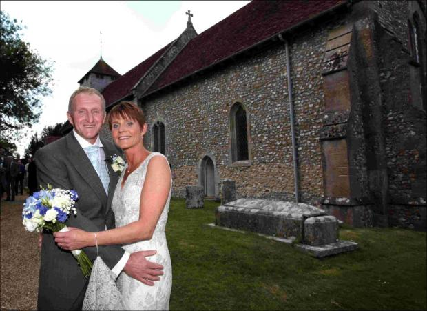 Darren and Alicia Bunce were married on Saturday, despite their original choice of church going up in flames last week.