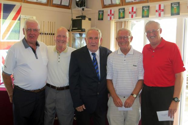 Team Challenge winning team of Des Pearce, Ted Bentley, club president Bryon Tarrant, Ray Neath and John Howarth