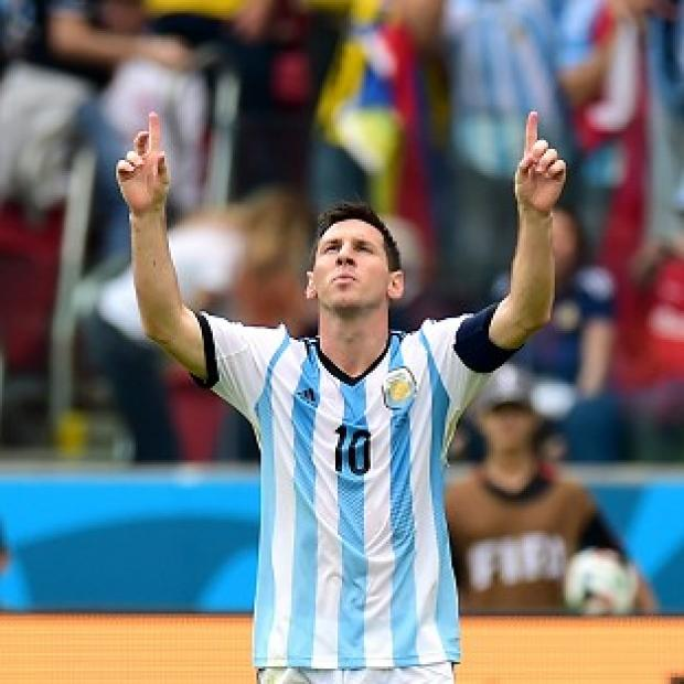 Andover Advertiser: Lionel Messi looks to the heavens after taking his World Cup 2014 tally to four goals
