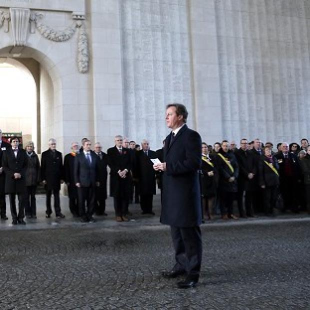Andover Advertiser: David Cameron in Ypres last December - he has returned with other EU leaders to mark the 100th anniversary of the First World War (AP)