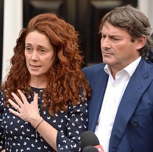 Andover Advertiser: Rebekah Brooks and her husband Charlie Brooks make a statement outside their property in central London, following their acquittal in the hacking trial