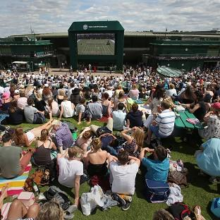 Crowds watching the big screen at Wimbledon, from what Google Maps is calling Murray Mount.