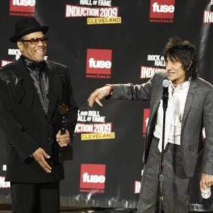 Bobby Womack, left, and Ronnie Wood backstage after Womack was inducted in