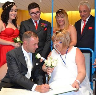 Andover Advertiser: The wedding of Joann Howells and Neil Ward at Worthing Hospital (Western Sussex Hospital NHS Foundation Trust/PA)