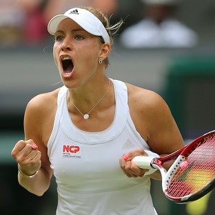 Angelique Kerber celebrates her win over Maria Sharapova