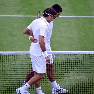 Roger Federer, left, and Novak Djokovic, right, will meet in a second grand slam final at Wimbledon on Sunday