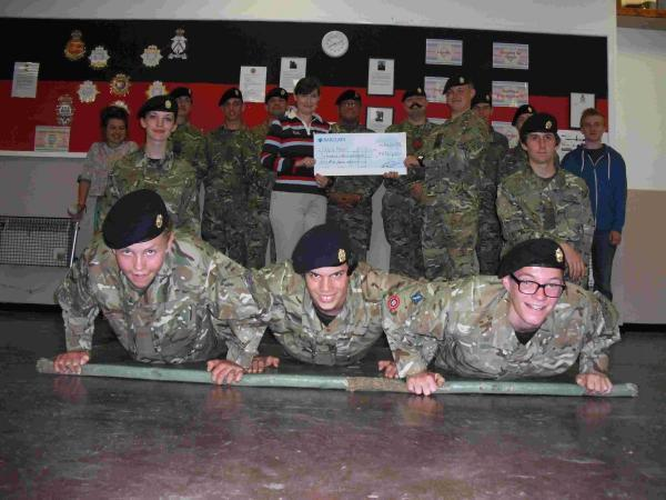 Members of 4 Troop Bishops Waltham, Army Cadet Force presented a cheque to the charity for £634.23