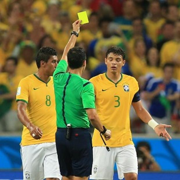 Andover Advertiser: Thiago Silva, right, received a yellow card during Brazil's win over Colombia