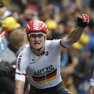 Andre Greipel, pictured, finished ahead of Alexander Kristoff and Samuel Dumoulin in Reims (AP)