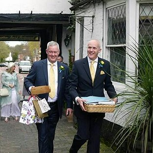 Canon Jeremy Pemberton, left, married his long-term partner Laurence Cunnington at a civil ceremony in April
