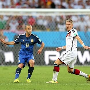 The battle between Javier Mascherano, left, and Bastian Schweinsteiger was one of the highlights of the final