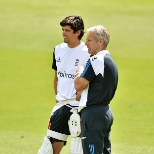 England coach Peter Moores, right, has confidence that Alastair Cook, left, will start contributing with the b