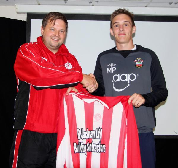 Josh Green, pictured right with manager Carl Bennett, was on target from the spot against Otterbourne
