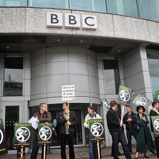 Journalists on the picket line outside BBC Television Centre, London, during an earlier strike