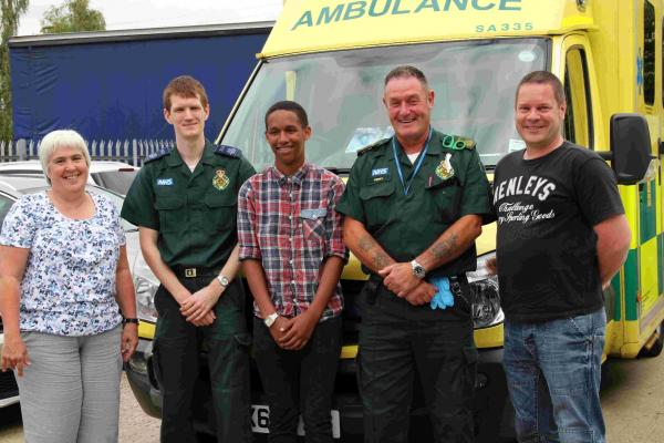 Sam Mangoro (centre) meets Emergency Care Practitioner Susan May, Emergency Care Assistant, Stuart Simpson,, Technician Perry Roles and Clinical Team Leader Morgan