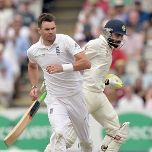 England's James Anderson, left, was alleged to have pushed and abused Ravindra Jadeja, right