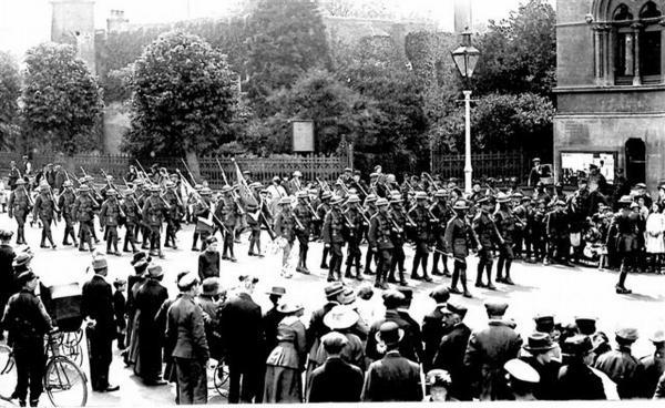 The Hampshire Regiment parades in The Broadway, Winchester in June 1919. Photo courtesy of The Royal Hampshire Regiment Trust