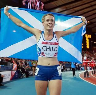 Scotland's Eilidh Child celebrates her silver medal in the Women's 400m hurdles