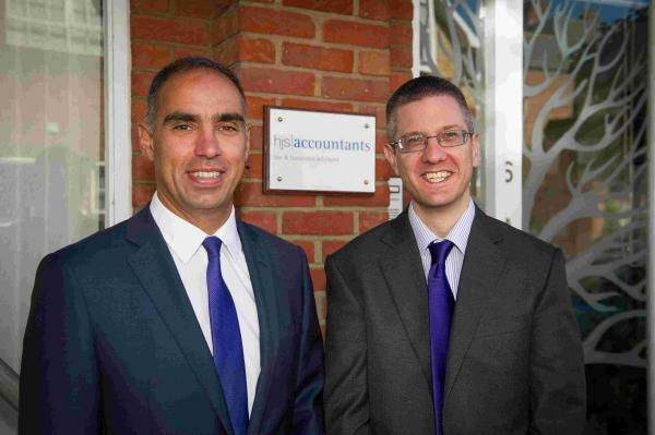 Gareth Stokes, (left), Managing Director of HJS Accountants, with Mark Davis, Office Manager of the new HJS Winchester office in Charlecote Mews