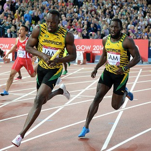 Usain Bolt, centre right, looked typically untroubled at Hampden Park