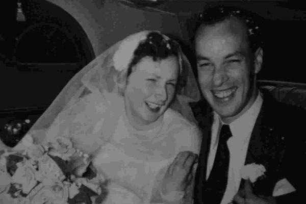 Beryl and Derek Igglesdon on their wedding day in 1954.