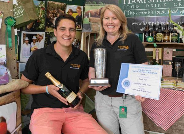 Josh Foster and Emma Rice of Hattingley Valley with Winemaker of the Year Award.