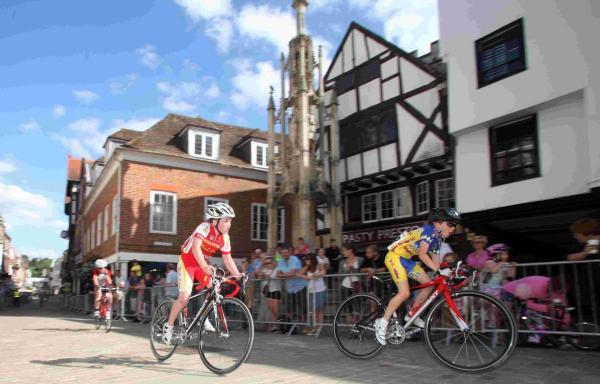 The family cycle race last year in Winchester's High Street.