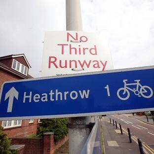A sign in the village of Sipson near Heathrow Airport