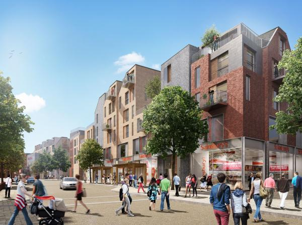 The proposed new scheme: looking down Friarsgate from junction with Middle Brook Street