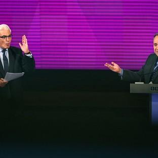 Better Together leader Alistair Darling and First Minister Alex Salmond during their debate in Glasgow