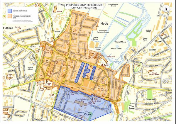 The boundaries of Winchester's new 20mph zone