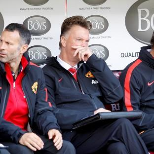 Manchester United boss Louis van Gaal, centre, endured a frustrating