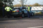 Three car collision closes carriageway