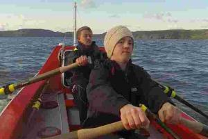 Support for rowing pair taking on ocean record