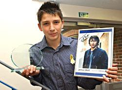 Live and Unsigned: Jake Ward of Andover, best male in the under 17 category. with his award and an autographed picture of his idol James Blunt.