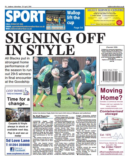 Andover Advertiser back page preview - Friday 29 April 2016