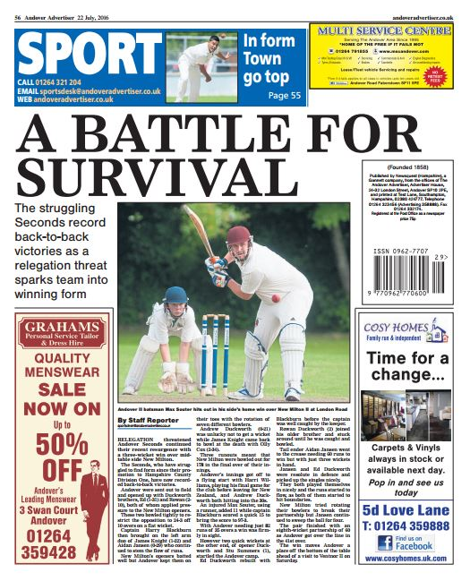 Andover Advertiser back page preview - Friday 22 July
