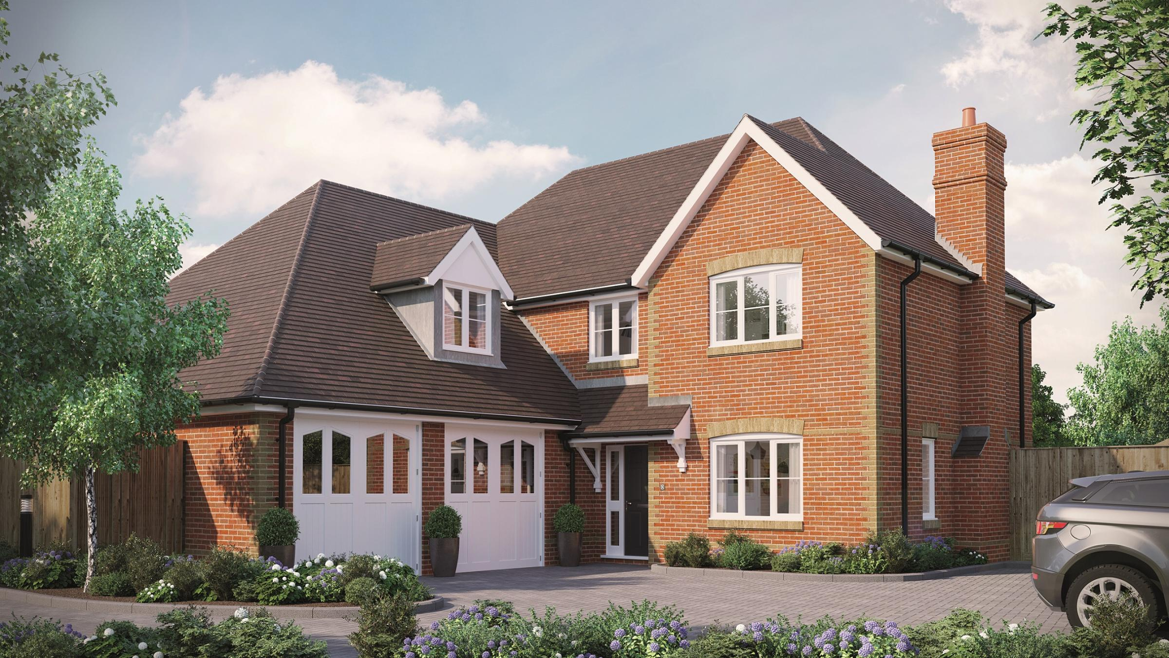 A computer generated image of plot 8, a five-bedroom detached house at The Mulberries in Whitchurch, by Metis Homes.