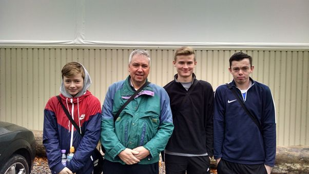 Will Moon, Bill Stuart, Tom Lee and Dan Arnold looking chilly before leaving for Overton.