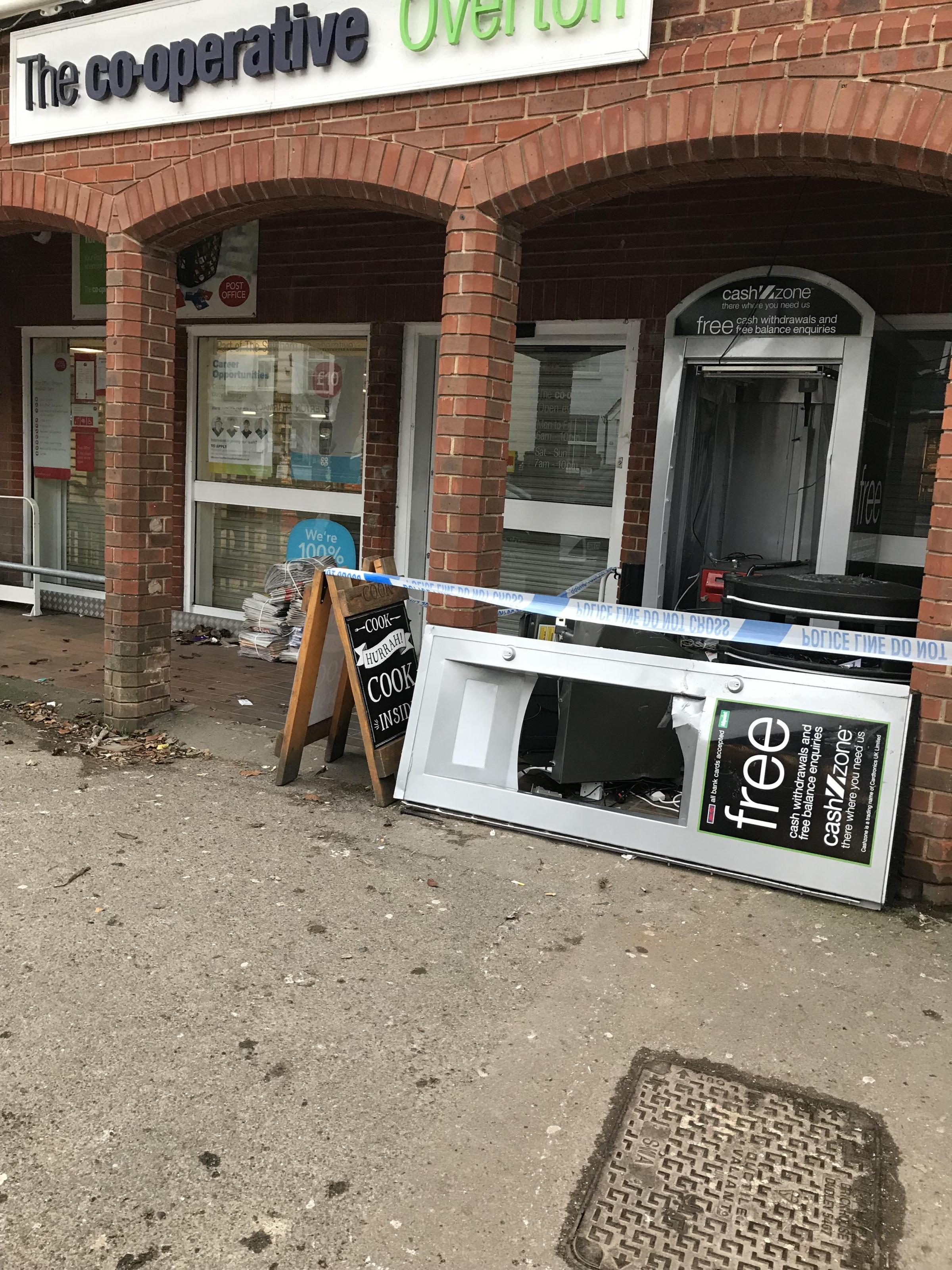 The damaged cashpoint. Photo: @Overtonhants on Twitter