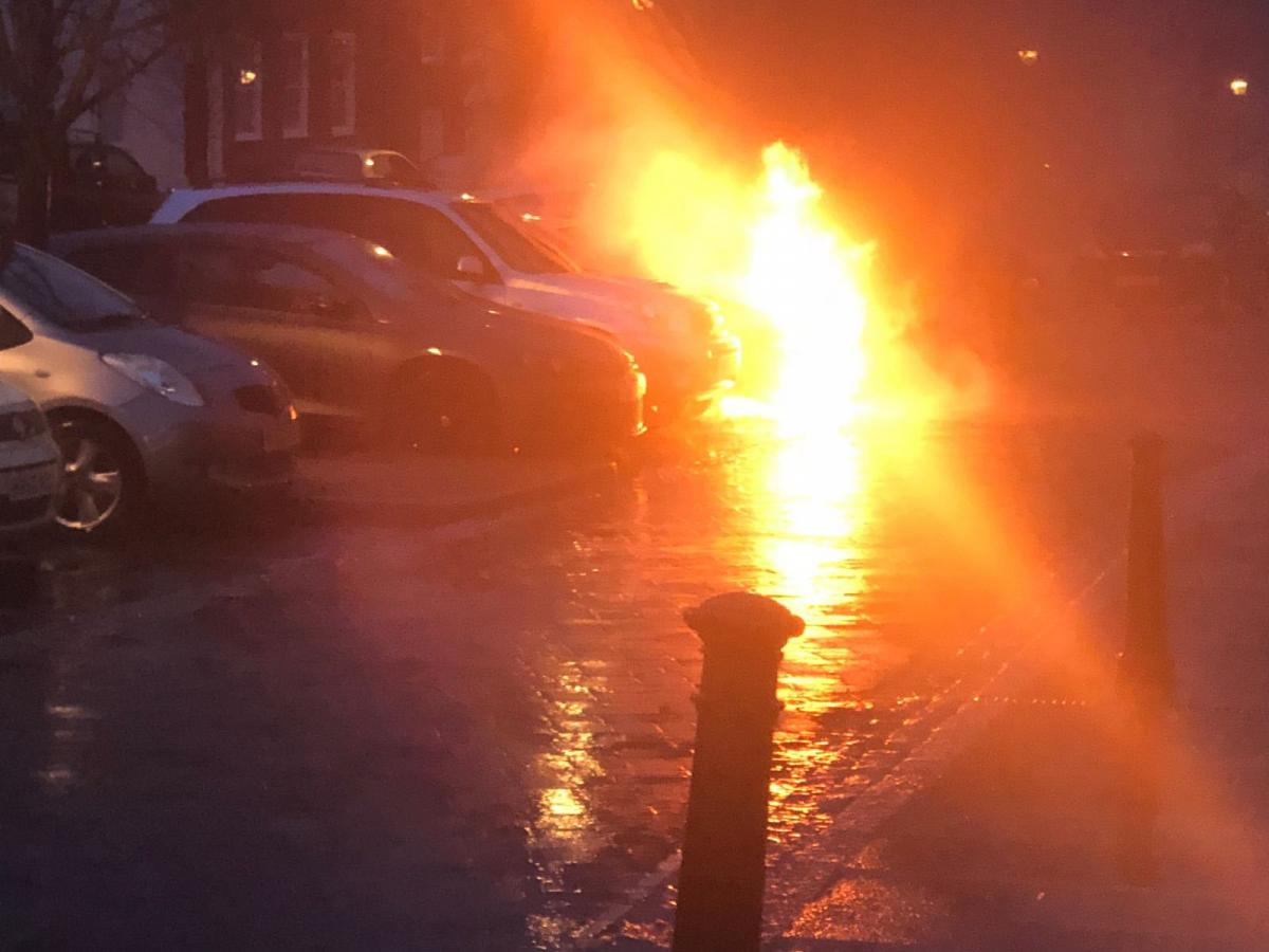 Video Car Engulfed In Flames In Outside Alresford Pizza