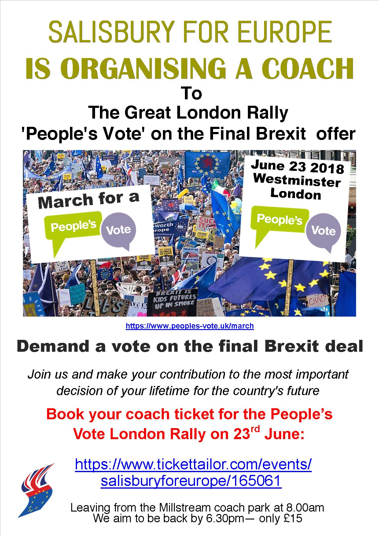 COACH TO THE GREAT LONDON RALLY!  'People's Vote' on the Final Brexit  offer
