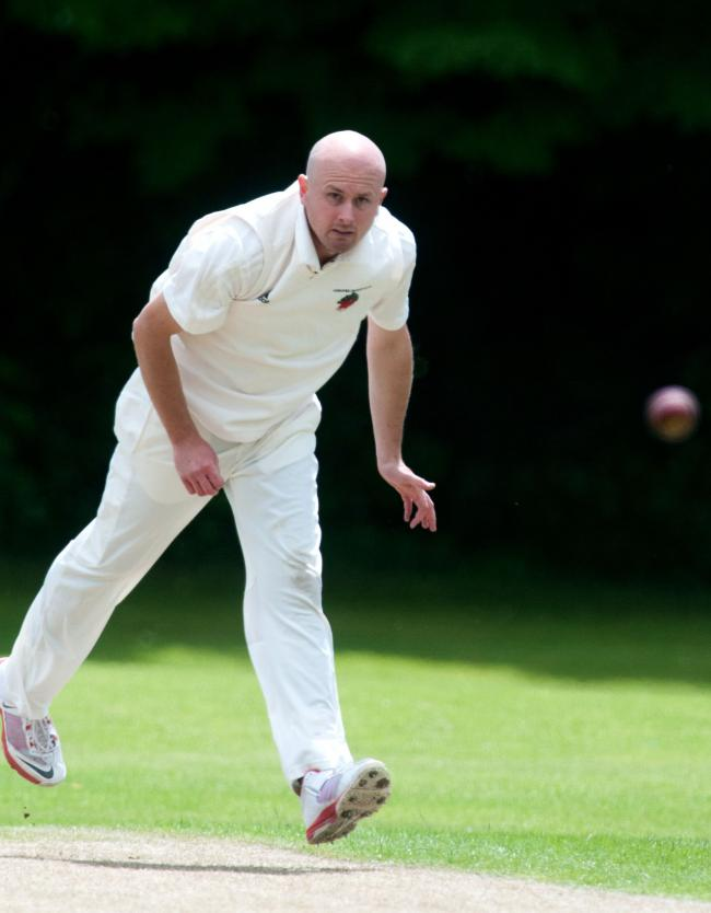 Andover Cricket Club's 1st XI bowler Mike Adams in action against Portsmouth at London Mike Adams Image: Andy Brooks