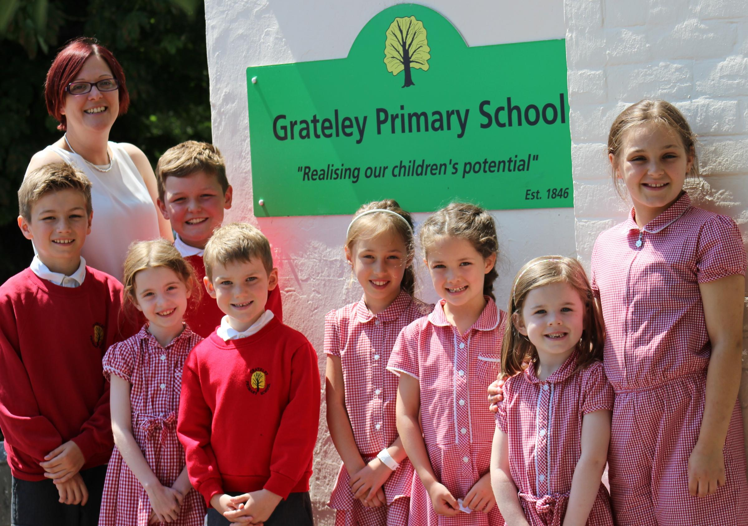 Head teacher Rachel Dance with Grateley pupils