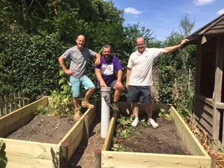Doug Evans, Nigel Luke and Barry Giles built the raised beds