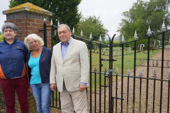 Councillors Vanessa Dixon, Jenny Langley and Tony Pickernell pictured at the gates of Jubilee Gardens in 2017